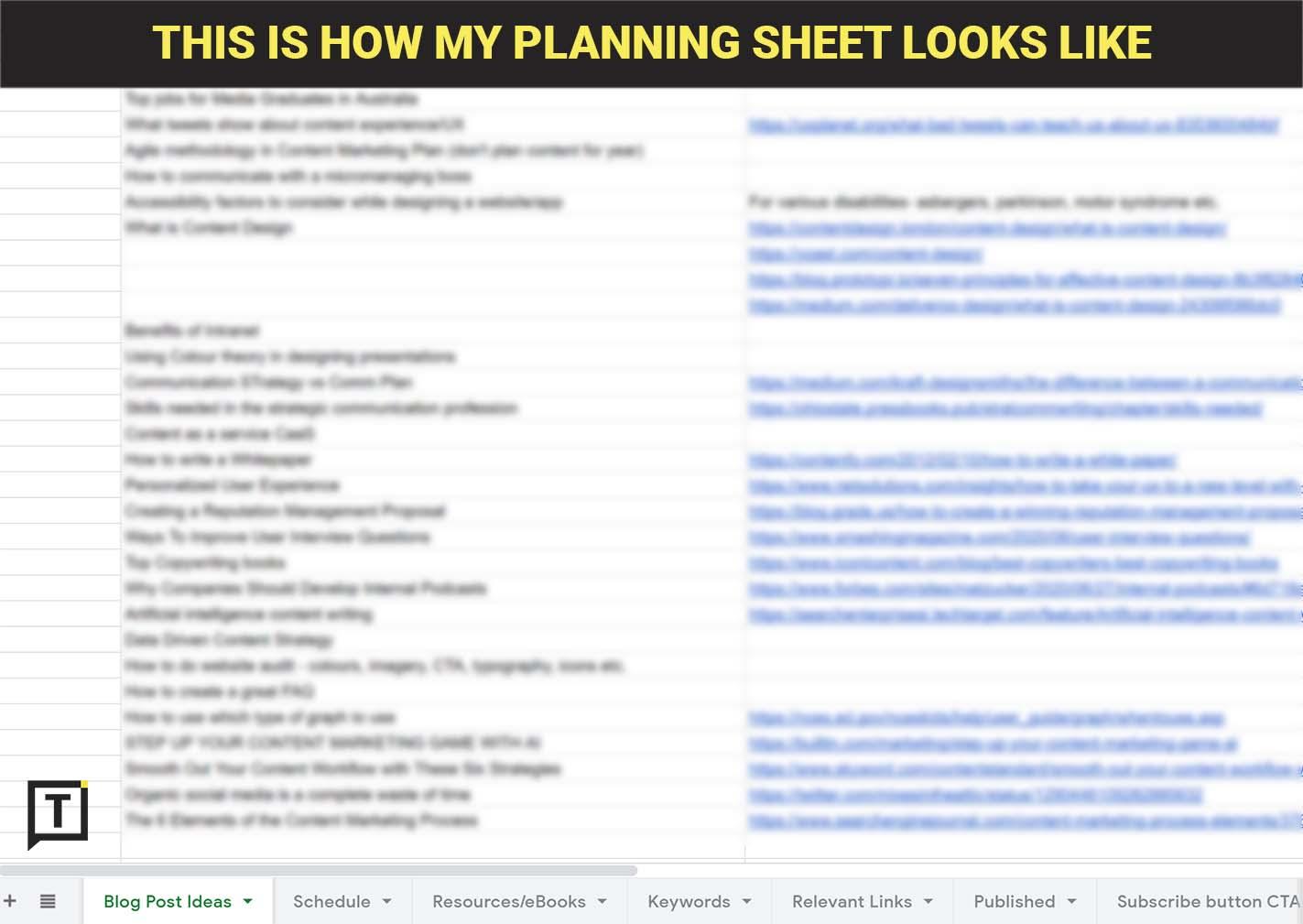 Content Calendar Planning Sheet