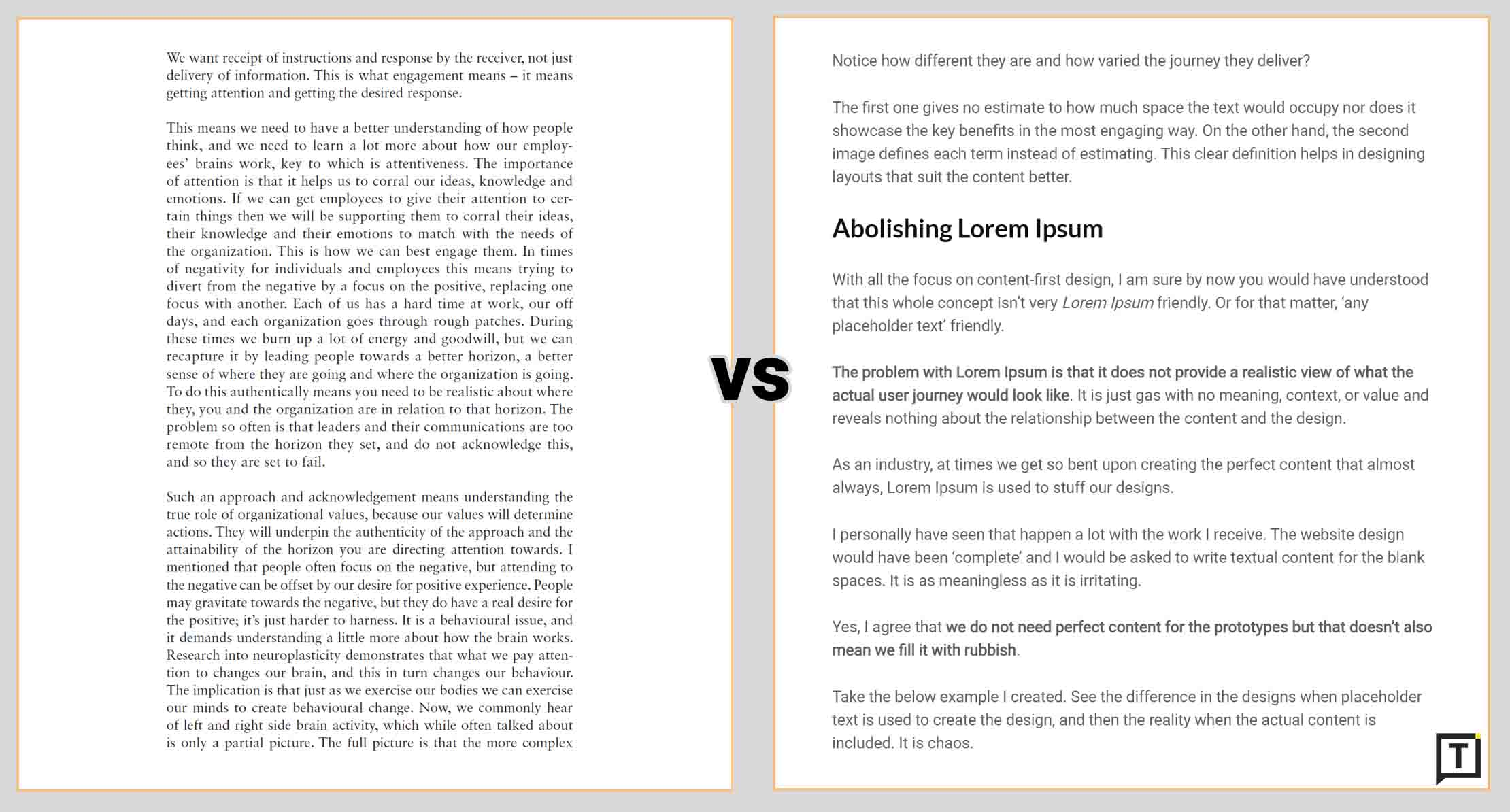 image showing block of text vs content broken into smaller paragraphs