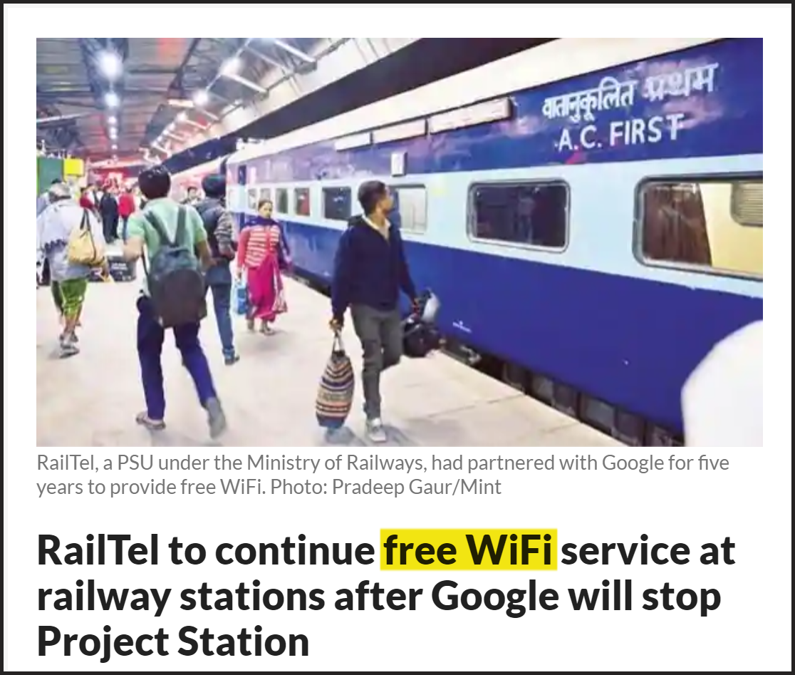 example of free vs complimentary- indian railway free wifi