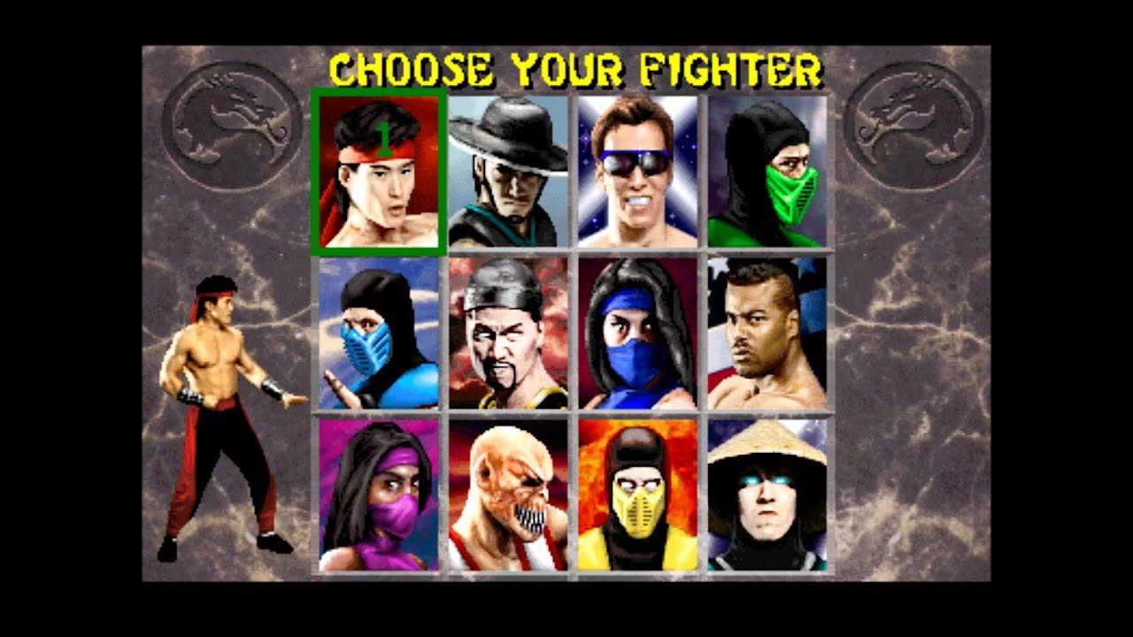 Mortal Kombat game choose vs select example
