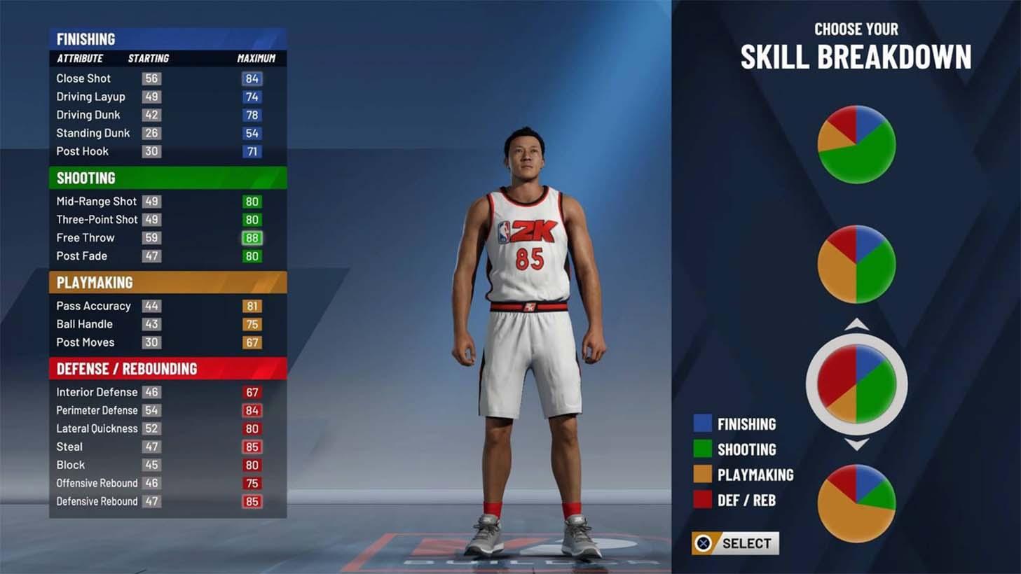 NBA 2K20 game choose vs select example