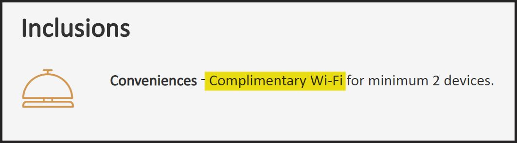 Taj Complimentary Wifi