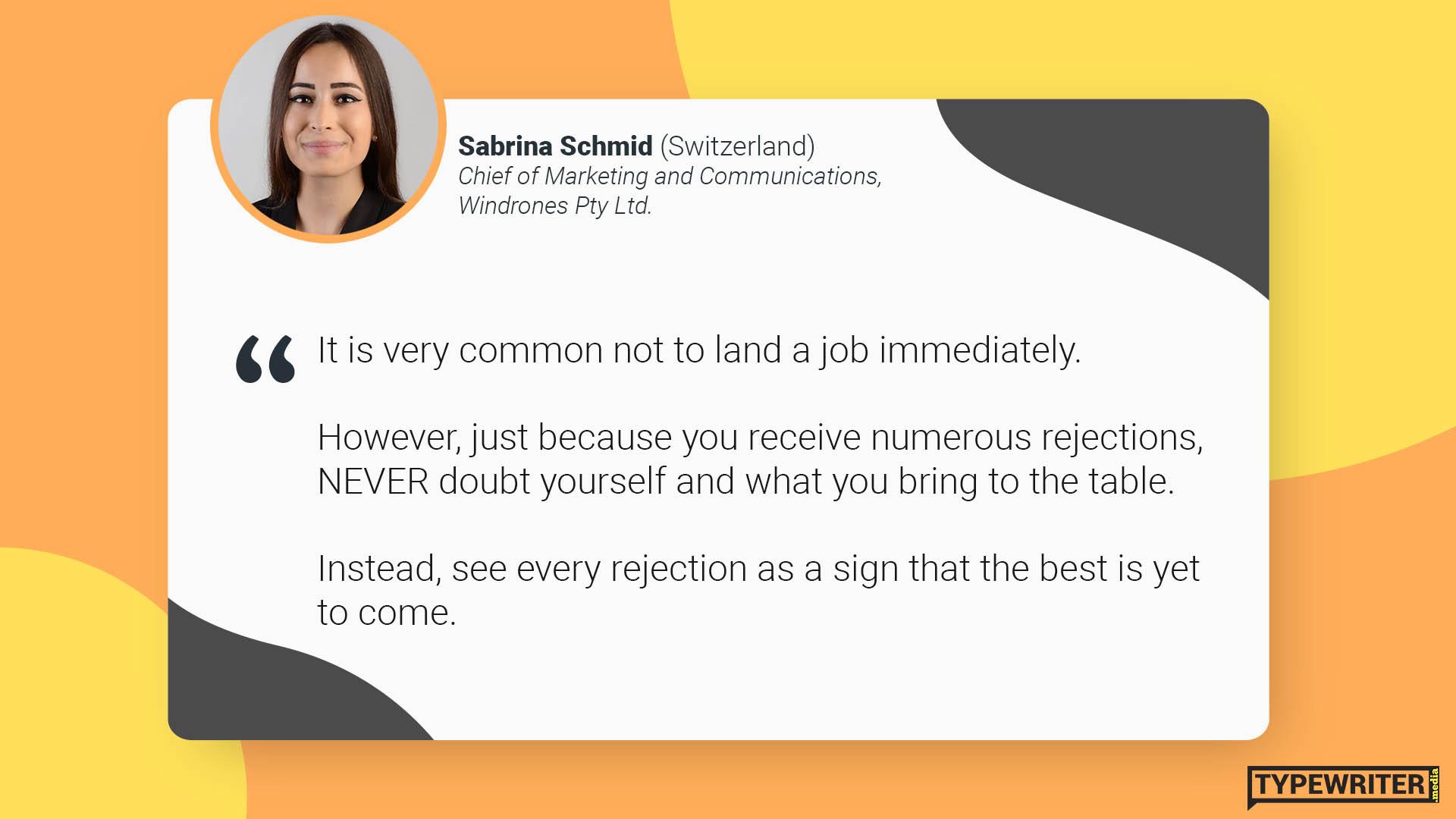 Sabrina advice to international communications graduates