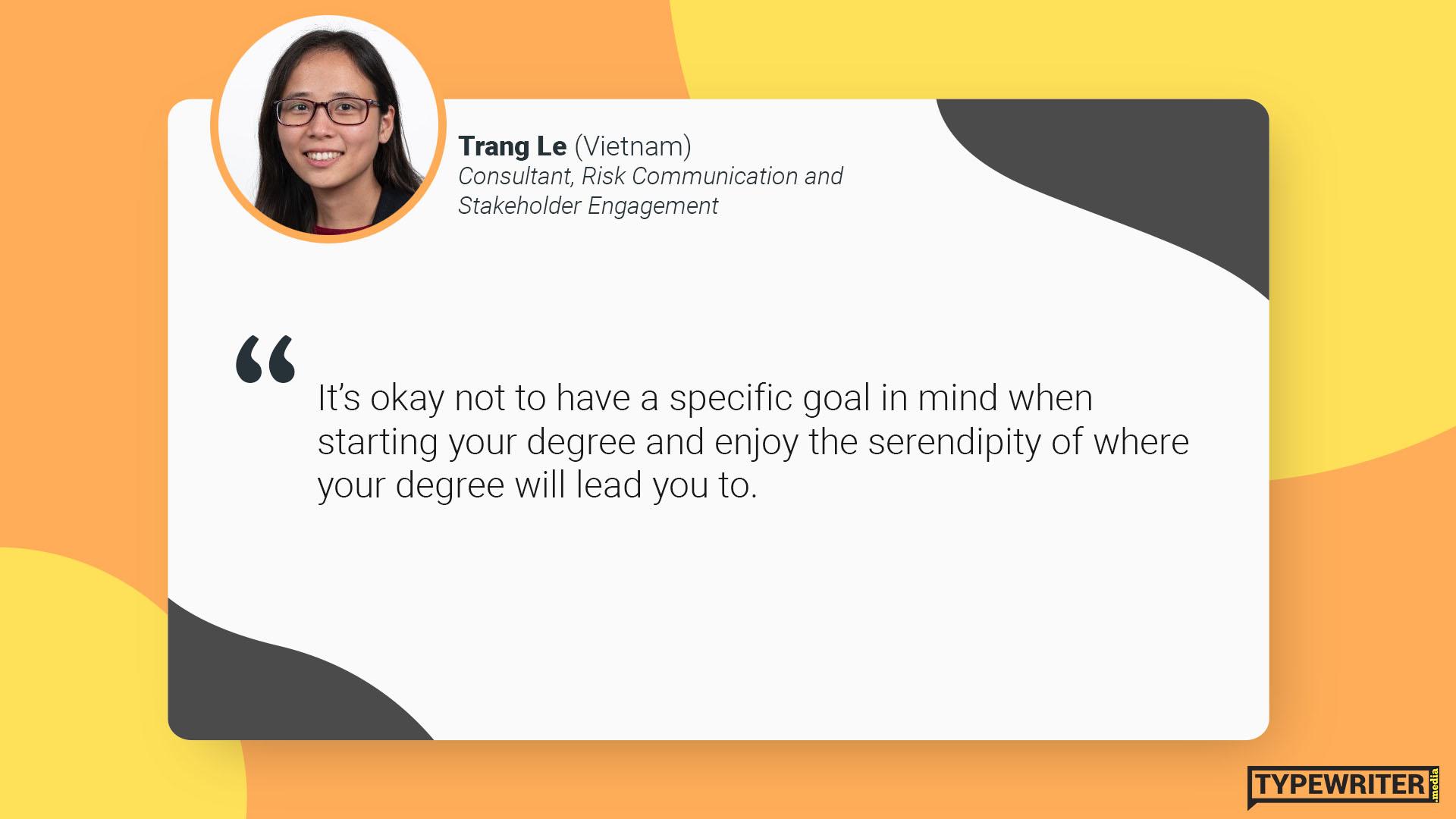 Trang advice to international communications graduates