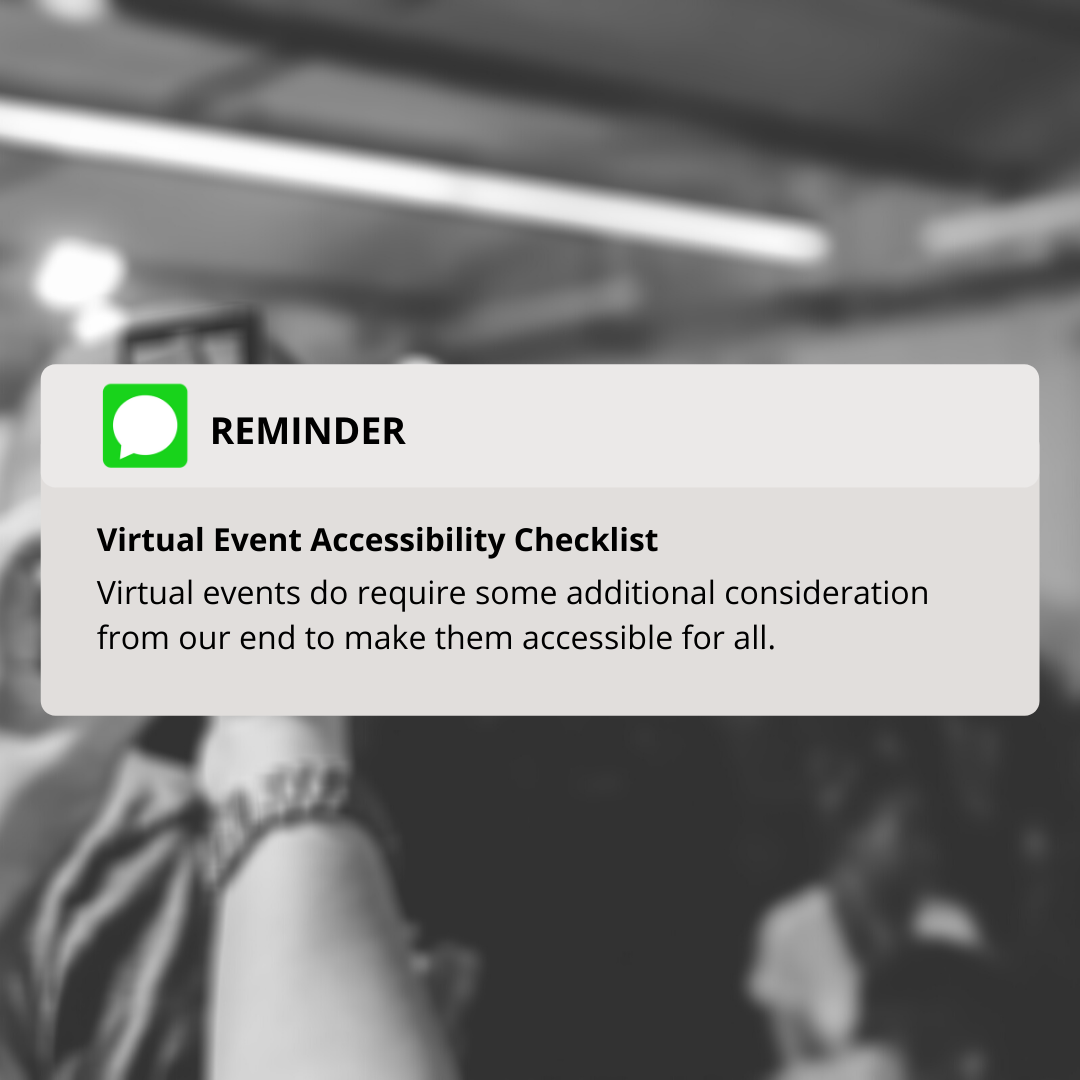Virtual Event Accessibility Checklist is important