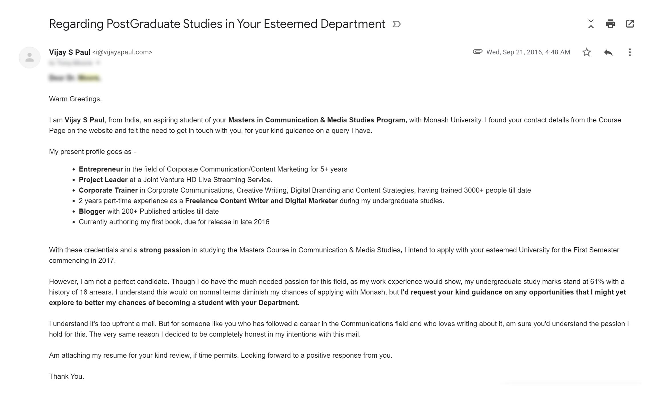 cold email example that got me admission for my postgraduate studies